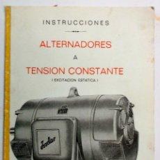 Catálogos publicitarios: INSTRUCCIONES PARA ALTERNADORES INDAR DE TENSIÓN CONSTANTE AÑOS 70. Lote 195133458