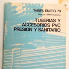 Catálogos publicitarios: CATALOGO LISTAS DE PRECIO DE TUBERÍAS Y PIEZAS DE PVC SAENGER AÑOS - 70. Lote 195133963