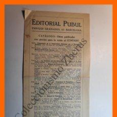 Catálogos publicitarios: CATÁLOGO DE OBRAS PUBLICADAS EDITORIAL PUBUL (BARCELONA), FEBRERO 1926. Lote 195139413