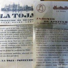 Catálogos publicitarios: PUBLICIDAD PRODUCTOS LA TOJA PONTEVEDRA JABONES AFEITAR , AGUAS SALES ... Lote 195150665