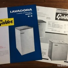 Catálogos publicitarios: DOS HOJAS PUBLICIDAD CATÁLOGO LAVADORA BOMI GOLDER MODELO D-5. Lote 195213373