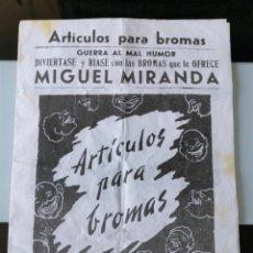 Catálogos publicitarios: FOLLETO PUBLICIDAD ARTÍCULOS PARA BROMAS MIGUEL MIRANDA - MADRID PLAZA MAYOR AÑOS 60. Lote 195247221