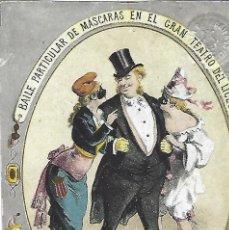 Catálogos publicitarios: TARGETA PUBLICITARIA BAILE PARTICULAR DE MÁSCARAS EN EL GRAN TEATRO DEL LICEO. SEÑORA. 1879.. Lote 195269928