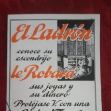 Catálogos publicitarios: FOLLETO PUBLICITARIO EL LADRON CAJAS FUERTES LAS ARCAS DE FICHET PROTEJASE V. CON UNA CAJA FUERTE. Lote 195271486