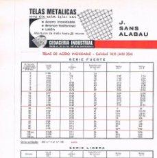 Catálogos publicitarios: FOLLETO PUBLICIDAD EXPOQUIMIA 78 TELAS METALICAS J SANS ALABAU CEDACERIA INDUSTRIAL. Lote 195324002