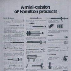 Catálogos publicitarios: FOLLETO PUBLICIDAD EXPOQUIMIA 78 MINI CATALOG OF HAMILTON PRODUCTS MICROMESURE XPECTRIX. Lote 195324130