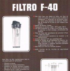 Catálogos publicitarios: FOLLETO PUBLICIDAD EXPOQUIMIA 78 FILTRO F 40 EUROFILTER. Lote 195324438