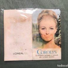 Catálogos publicitarios: COROLYS. MUESTRA PUBLICITARIA L´OREAL. COSMÉTICA. CUIDADO DEL CUTIS. AÑOS 1970S. CON PRODUCTO. Lote 195329186