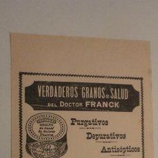 Catálogos publicitarios: ANTIGUA PUBLICIDAD.GRANOS SALUD DOCTOR FRANCK.GRAINS DE SANTE DOCTEUR FRANCK.. Lote 195330576