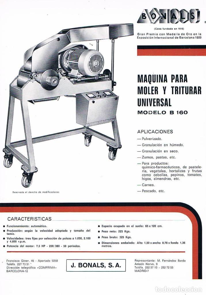 FOLLETO PUBLICIDAD EXPOQUIMIA 78 BONALS MAQUINA PARA MOLER Y TRITURAR UNIVERSAL (Coleccionismo - Catálogos Publicitarios)
