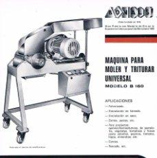 Catálogos publicitarios: FOLLETO PUBLICIDAD EXPOQUIMIA 78 BONALS MAQUINA PARA MOLER Y TRITURAR UNIVERSAL. Lote 195333397