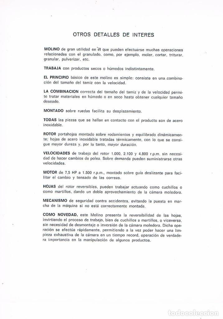 Catálogos publicitarios: FOLLETO PUBLICIDAD EXPOQUIMIA 78 BONALS MAQUINA PARA MOLER Y TRITURAR UNIVERSAL - Foto 2 - 195333397