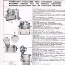 Catálogos publicitarios: FOLLETO PUBLICIDAD EXPOQUIMIA 78 ROUSSELET CENTRIFUGEUSES. Lote 195333487