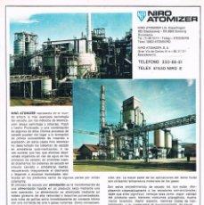 Catálogos publicitarios: FOLLETO PUBLICIDAD EXPOQUIMIA 78 NIRO ATOMIZER. Lote 195333677