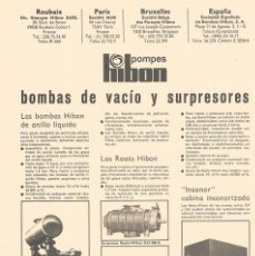 Catálogos publicitarios: FOLLETO PUBLICIDAD EXPOQUIMIA 78 POMPES HIBON BOMBAS DE VACIO Y SURPRESORES. Lote 195333738