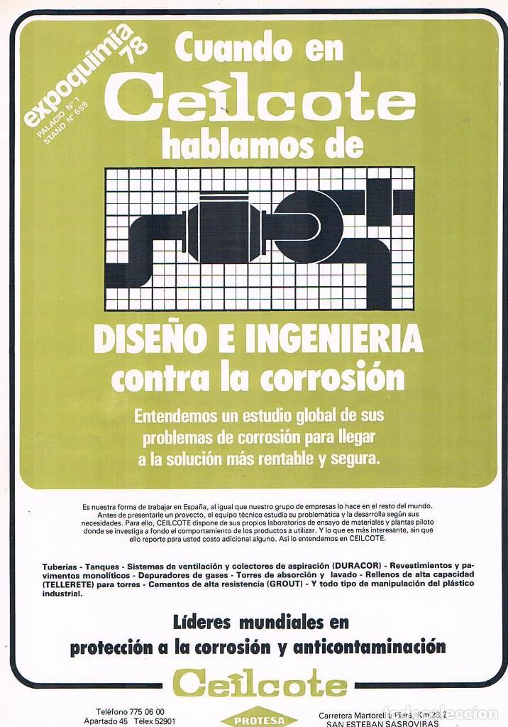 FOLLETO PUBLICIDAD EXPOQUIMIA 78 CEILCOTE FABRICACION DISEÑO INGENIERIA CONTRA LA CORROSION PROTESA (Coleccionismo - Catálogos Publicitarios)