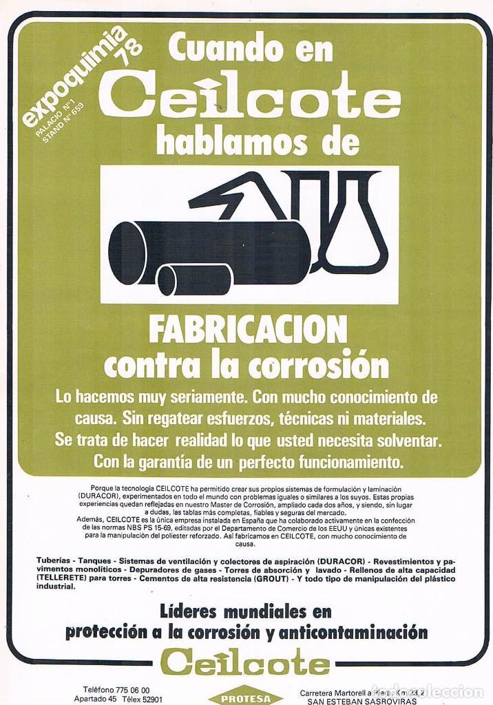 Catálogos publicitarios: FOLLETO PUBLICIDAD EXPOQUIMIA 78 CEILCOTE FABRICACION DISEÑO INGENIERIA CONTRA LA CORROSION PROTESA - Foto 2 - 195334453