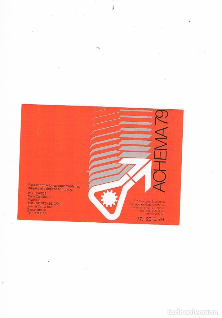 FOLLETO PUBLICIDAD EXPOQUIMIA 78 ACHEMA 79 W S CASOS (Coleccionismo - Catálogos Publicitarios)