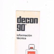 Catálogos publicitarios: FOLLETO PUBLICIDAD EXPOQUIMIA 78 DECON 90 CONTRAD DCN90. Lote 195368338