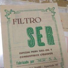 Catálogos publicitarios: FILTRO SER SEVILLA PARA GASOIL Y OTROS COMBUSTIBLES. Lote 195428426