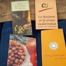 Catálogos publicitarios: LOTE 3 LIBRITOS Y FOLLETO ACEITUNA DE MESA COCINA MEDITERRÁNEA Y RUTAS GASTRONOMÍA ALJARAFE AÑO 2003. Lote 195450010