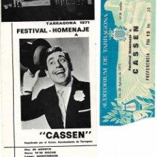 Catálogos publicitarios: TARRAGONA 1971 - FESTIVAL HOMENAJE A CASSEN - ORG. AYUNTAMIENTO TARRAGONA - COLB. CLUB DE JOVES. Lote 195462567