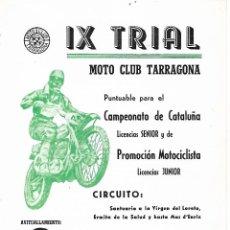 Catálogos publicitarios: IX TRIAL - MOTO CLUB TARRAGONA - 27 MAYO 1973. Lote 195463672