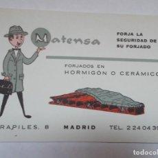 Catálogos publicitarios: PUBLICIDAD AÑOS 60 MATENSA FORJADOS EN HORMIGÓN O CERÁMICO. Lote 195476177