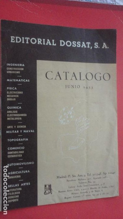 EDITORIAL DOSSAT S.A . CATALOGO 1953. (Coleccionismo - Catálogos Publicitarios)