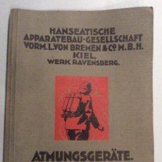 Catálogos publicitarios: CATÁLOGO ALEMÁN AÑOS 20 SOBRE EQUIPOS DE RESPÌRACIÓN PARA BOMBEROS HANSEATISCHE APPARATEBAU,. Lote 195863962