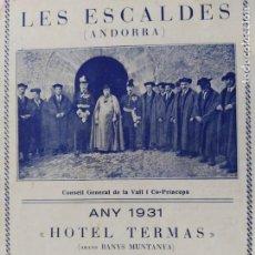 Catálogos publicitarios: ANDORRA-LES ESCALDES-HOTEL TERMAS-AÑO 1931-CATALOGO PUBLICIDAD CON FOTOGRAFIAS-VER FOTOS-(V-19.403). Lote 196806328