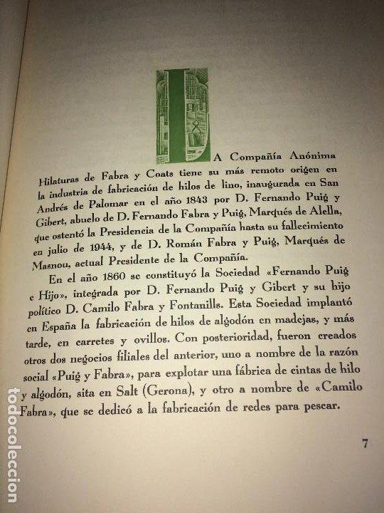 Catálogos publicitarios: OPÚSCULO CENTENARIO DE HILATURAS DE FABRA Y COATS - AÑO 1944 - ESTADO IMPECABLE - Foto 6 - 197142803