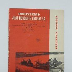 Catálogos publicitarios: CATÁLOGO DESPIECE COSECHADORA JUBUS ( FACTORIA REUS BUSQUETS ). Lote 242042715