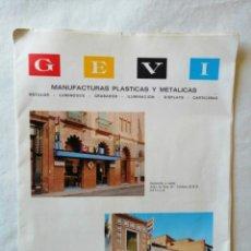 Catálogos publicitarios: ANTIGUO CATALOGO PUBLICITARIO MANUFACTURAS PLASTICAS Y METALICAS GEVI SEVILLA 1972 ROTULOS LUMINOSOS. Lote 197346291