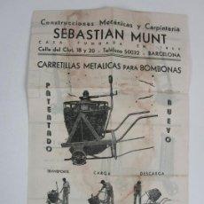 Catálogos publicitarios: CATÁLOGO SEBASTIAN MUNT -CONSTRUCCIONES MECÁNICAS Y CARPINTERÍA -CARRETILLAS METÁLICAS PARA BOMBONAS. Lote 198038507
