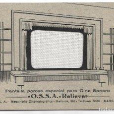 Catálogos publicitarios: OSSA - PANTALLA POROSA ESPECIAL PARA CINE SONORO - PROYECCIÓN - DÍPTICO 16 X 11,2 CM.. Lote 198551772