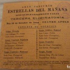Catálogos publicitarios: CONCURSO ESTRELLAS DEL MAÑANA.SERVICIO RADIOFONICO VALLS.TARRAGONA 1950.. Lote 199054103