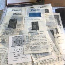 Catálogos publicitarios: MAGNIFICO LOTE DE PUBLICIDAD ANTIGUAS DE RADIOS, INCLUYE UN LISTADO DE PRECIOS DE LA ÉPOCA. Lote 202654910
