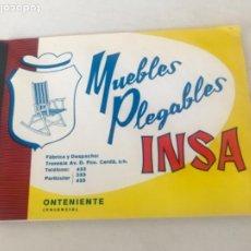 Catálogos publicitarios: CATALAGO MUEBLES PLEGABLES INSA 1969 INCLUYE TARIFAS. ONTENIENTE VALENCIA.. Lote 203322348