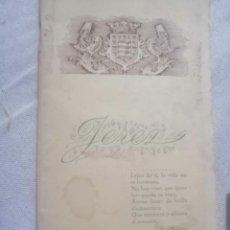 Catálogos publicitarios: LIBRETO ANTIGUO DEL MARCO DE JEREZ. JOSE SOTO Y MOLINA. JEREZ Y SU VINO. Lote 204732365