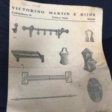 Catálogos publicitarios: ANTIGUA PUBLICIDAD VICTORIANO MARTIN E HIJOS MADRID 1946. Lote 205821822
