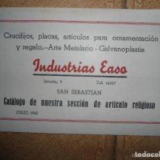 Catálogos publicitarios: ANTIGUO CATALOGO INDUSTRIAS EASO - ARTICULOS RELOGIOSOS - SAN SEBASTIAN - 1945. Lote 205822627