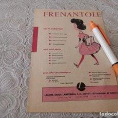 Catálogos publicitários: MEDICAMENTO FRENANTOLE PARA LA REGLA MUJER ANTIGUO ANUNCIO PUBLICIDAD REVISTA. Lote 206775340