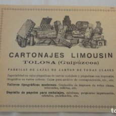 Catálogos publicitarios: ANTIGUO RECORTE PUBLICIDAD.CARTONAJES LIMOUSIN.FABRICAS CAJAS CARTON.TOLOSA.GUIPUZCOA.. Lote 207054415