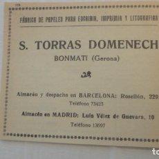 Catálogos publicitarios: ANTIGUO RECORTE PUBLICIDAD.FABRICA PAPELES ESCRIBIR.S.TORRAS DOMENECH.BONMATI.GERONA.. Lote 207054622