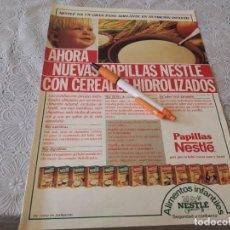Catálogos publicitarios: PAPILLAS NESTLÉ REVERSO EMPRESA GAS SEDIGAS ANUNCIO PUBLICIDAD REVISTA 1986. Lote 207066236