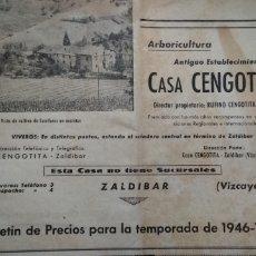 Catálogos publicitarios: CASA CENGOTITA ARBORICULTURA .- TARIFA DE PRECIOS 1946-47 .- ZALDIBAR.- VIZCAYA. Lote 207128001