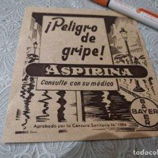 Catálogos publicitários: PELIGRO DE GRIPE ASPIRINA BAYER ANUNCIO PUBLICIDAD REVISTA 1944. Lote 207143971
