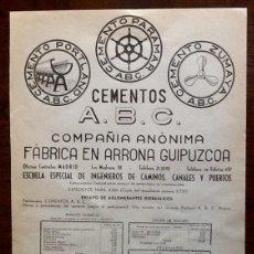 Catálogos publicitarios: PUBLICIDAD CEMENTOS A.B.C. 1944. ENVIO INCLUIDO.. Lote 207301177