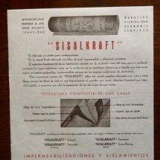 Catálogos publicitarios: PUBLICIDAD IMPERMEABILIZACIONES Y AISLAMIENTOS. AÑOS 40. ENVIO INCLUIDO.. Lote 207301666
